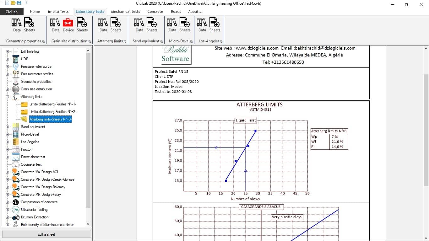 Atterberg limits test, Civil Engineering Laboratory Software - CiviLab