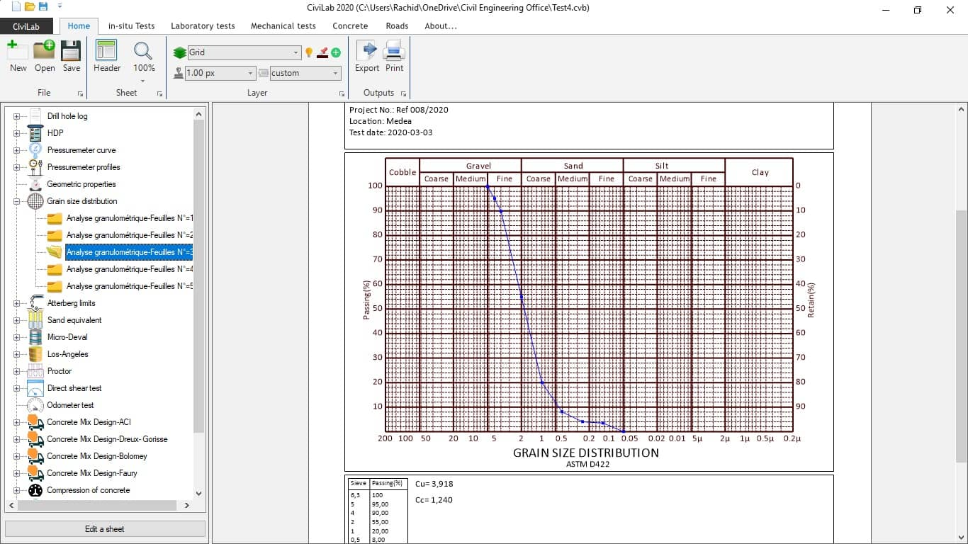 Grain size distribution test, Civil Engineering Laboratory Software - CiviLab