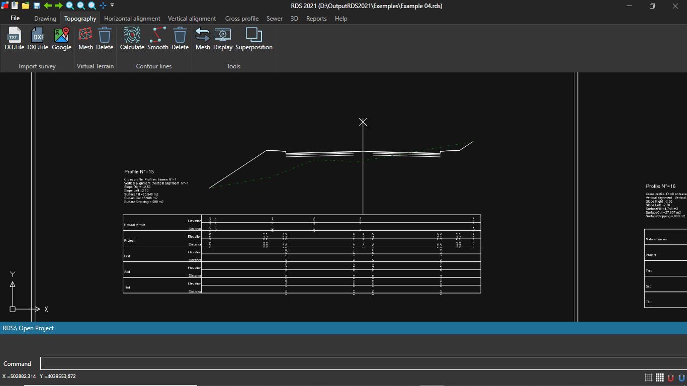 Cross profile, Road Design Software - RDS
